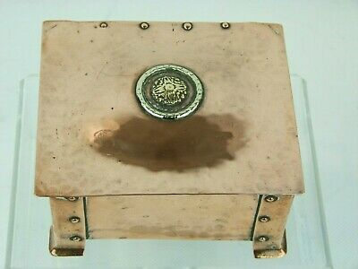 A Hand Wrought Arts & Crafts Copper and Brass Box by A E Jones.