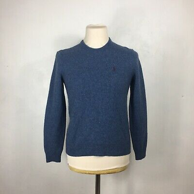 Polo Ralph Lauren 100% Lambswool Blue Jumper Size Small Pullover Sweater