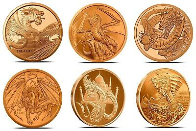 Lot of 6 World Of Dragons Aztec Welsh Chinese Norse Indian Egyptian Copper Round
