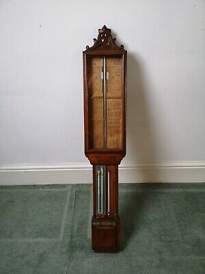 19th century Victorian Carved Oak Cased Admiral Fitzroy Barometer