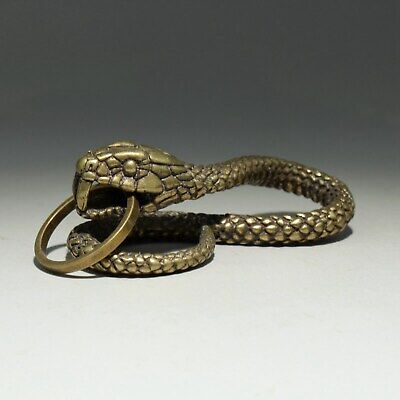 Collectable China Old Bronze Hand-Carved Malicious Snake Unique Decor Pendant