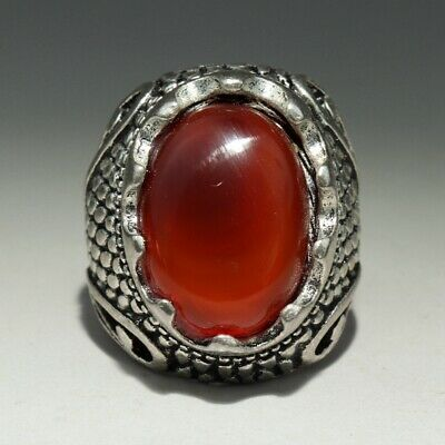 Collectable China Old Miao Silver Armour Agate Hand-Carved Delicate Noble Ring