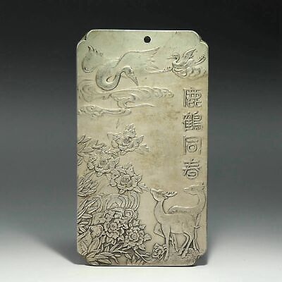 Collect Old Miao Silver Hand-Carved Crane & Deer & Flower Delicate Decor Pendant