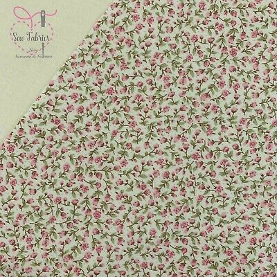 Rose and Hubble Pink Ditsy Floral Fabric 100% Cotton Poplin Flower Material