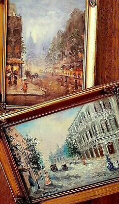 Small Paintings Original Oil Cityscapes New Orleans Well Known Artist  - A Pair