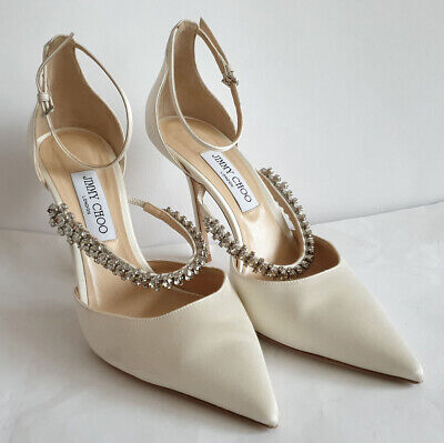 Jimmy Choo Bridal Shoes - Satin & Diamante - Size 40