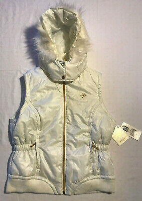 Girl's Southpole Zip Up Vest With Removable Hood  Cream Color NWT