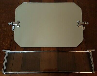 Vintage Art Deco bevelled bathroom mirror and glass shelf