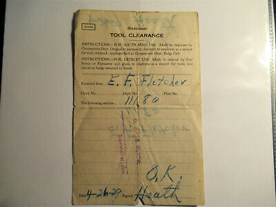1929 Studebaker Tool Clearance Form South Bend Indiana