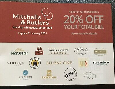Mitchells & Butlers voucher 20% off total bill, valid until 31 January 2021