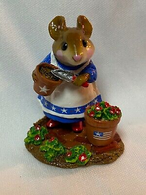 Wee Forest Folk Retired LTD Patient Lucy USA Flag on Pot