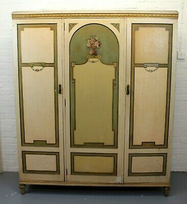 Antique Waring & Gillows Three Door Triple Wardrobe ~ Cream Bedroom Suite