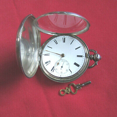 Antique ENGLISH KEY WIND  Solid Silver Pocket Watch - 615B
