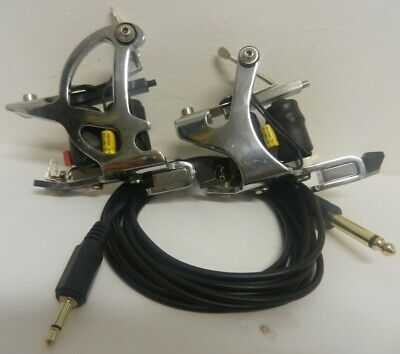 danny harkins chrome d shaped shader & cutback liner tattoo machines with lead