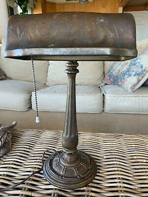 Vintage RARE Mission Aladdin Cast Iron Base Art Deco Bankers Piano Desk Lamp