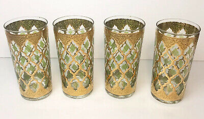 Vintage Set of 4 Culver Valencia Tumbler Glasses 22K Gold Green Diamond Barware