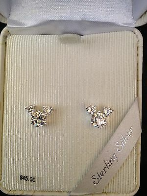 Disney STERLING SILVER CUBIC ZIRCONIA Mickey Mouse Stud Earrings
