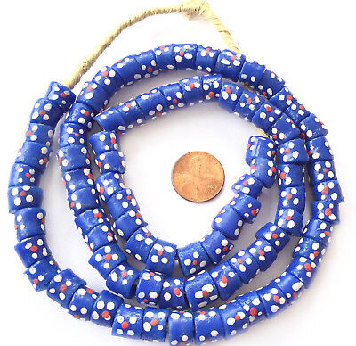 Ghana Matched Blue multi Colored handmade Recycled glass African trade beads