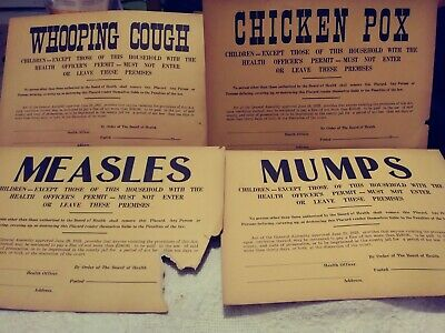 Vintage(1923) Whooping Cough, Measles, Chicken Pox, Mumps-Quarantine Paper Sign