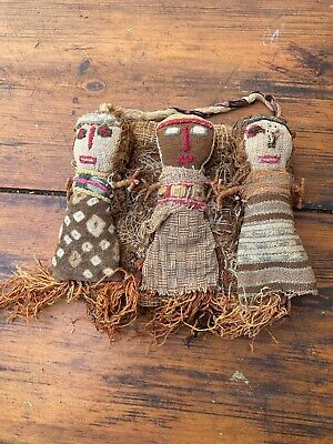 Old Group Of South American Canchay Burial Dolls Peru 19thC