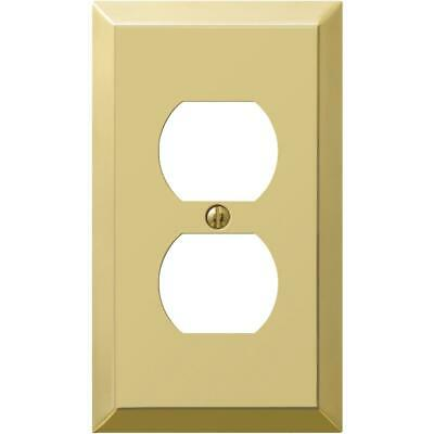 Amerelle 1-Gang Stamped Steel Outlet Wall Plate, Polished Brass 163DBR  - 1 Each