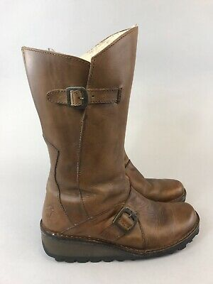 Fly London Size 37 UK4 Brown Leather Mid Calf Zip Up Buckle Wedge Heels Boots