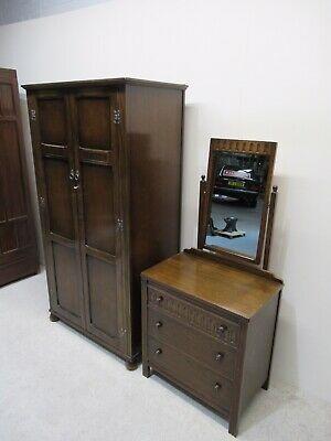Antique Oak Compactum Wardrobe And Dressing Table Bedroom Suite Rare Design