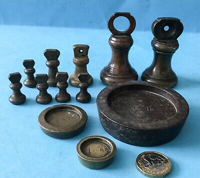 Collection of 9 Antique Brass Bell Weights & 3 Antique Round Victorian Weights