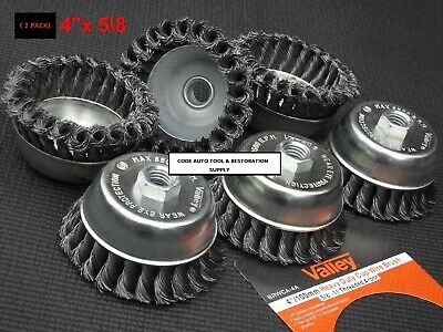 4''/100Mm 2Pc Heavy Duty Knotted Wire Cup Brush Wheel Valley 5/8''Threaded Arbor