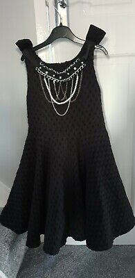 girls River Island black party dress with detachable necklace Age 8