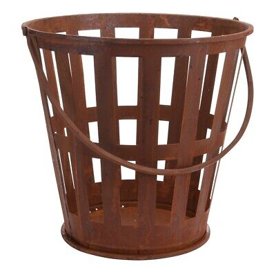 Cast Iron Fire Bucket 39cm Rusted Wood Log Holder Basket Fireplace Carrier Store