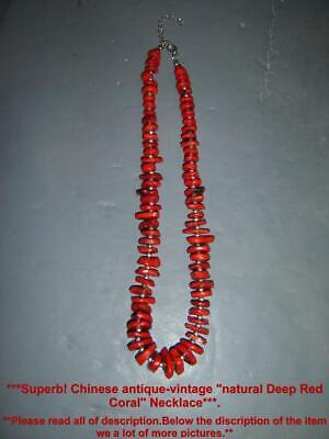 Superb Antique Chinese Natural Deep Red Coral  Beads Pendants Necklace.