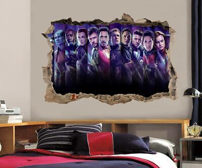 Avengers End Game 3D Smashed Wall Sticker Decal Decor Art Mural Super Hero J1411