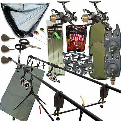 Completo Pesca de Carpa Set Up con Cañas Carrete Morder Alarmas Recogida Red Pie