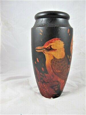Australian poker work vase with painted kookaburra. original patina c1930's