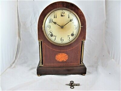 Mahogany cased clock with inlay & pine stringing, German, chimes c1920's