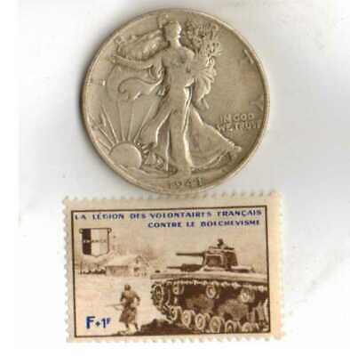 #-2)-*Rare WWII-*French foren  LEGION stamp+*german and *us  WAR time .50 c coin