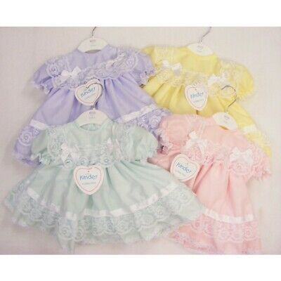 Kinder Baby Girls Spanish Style Romany Pastel Colour & Frilly Lace & Bows Dress