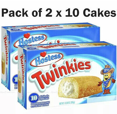 Hostess Twinkies Fluffy Golden Bake Creamy Filling Snack Twin Pack of 2x10 Cakes