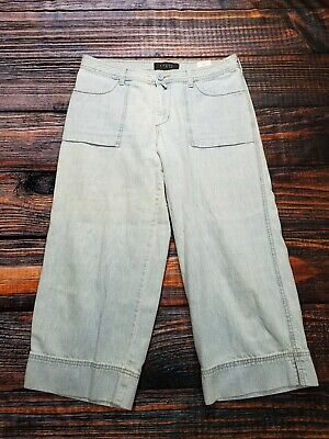 Riveted By Lee Womens Wide Leg Capri Cropped Jeans Blue Light Wash Size 8M x 23""
