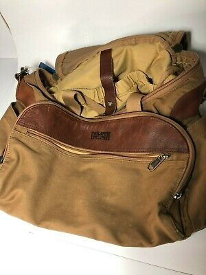 DULUTH TRADING CO.  Heavy Duty Canvas Leather Clamshell Travel Overnight Bag!