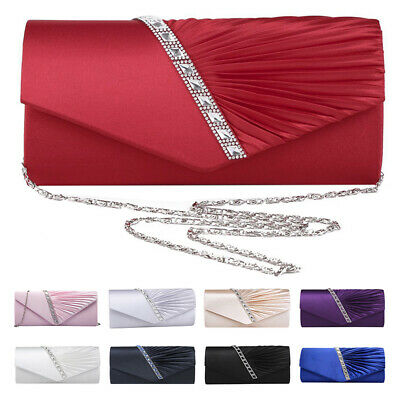 Ladies Diamond Ruffle Party Prom Bridal Evening Envelope Clutch Bag L9E3