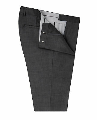 T.M.Lewin Mens  Kingsway Slim Fit Trousers in Charcoal Sharkskin Zegna Wool