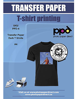 PPD Inkjet T Shirt Transfer Paper A4 for Dark Fabric x 10 Sheets PPD-4-10