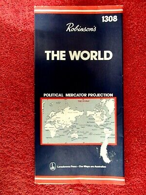Robinson's  1308  The  World  Political  Mercator Projection