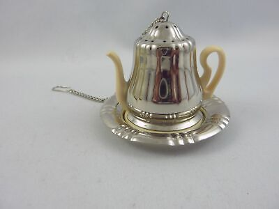 Rare German tea strainer infuser BMF in form of a coffee pot with drip tray