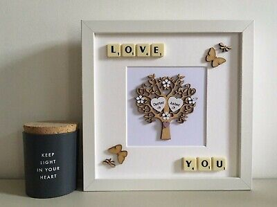 Scrabble Art Picture Love You Tree - Couples Any Occasion Valentines Day