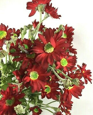 6 Button Mum Stems Wired Flower Quality Floral Picks Red Daisy Chrysanthemum