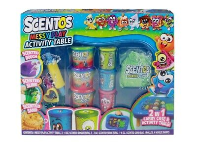 Scentos Messy Play Activity Table & Carry Case Scented Dough Slime Sand Kids Fun