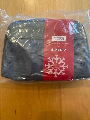 DELTA ONE Tumi Business Class Amenity Kit / Sealed / Soft GREY Travel Case New